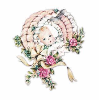Ducha rosada de la niña del vintage escultura fotografica