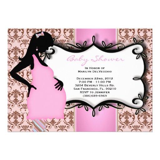 Ducha rosada de la niña dulce LINDA Invitación