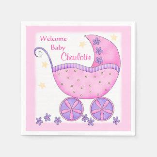 Ducha rosada del fiesta de la recepción del chica servilleta de papel