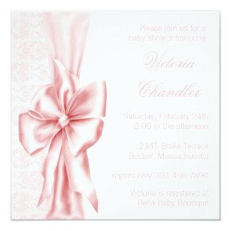 """Ducha rosada elegante de la niña del damasco invitación 5.25"""" x 5.25"""""""
