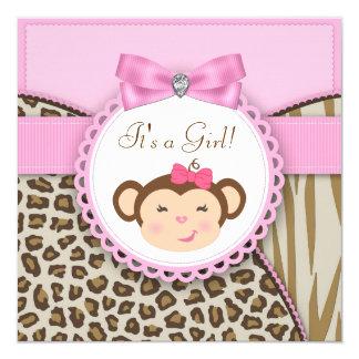 """Ducha rosada elegante de la niña del mono invitación 5.25"""" x 5.25"""""""