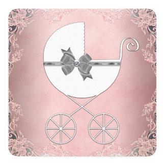 """Ducha rosada gris elegante de la niña del cordón invitación 5.25"""" x 5.25"""""""