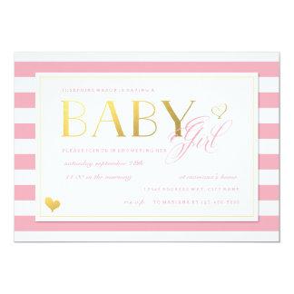 Ducha rosada y blanca de la niña de la raya con invitación 12,7 x 17,8 cm