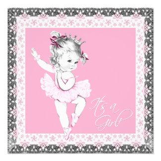Ducha rosada y gris de la niña de la bailarina invitacion personal
