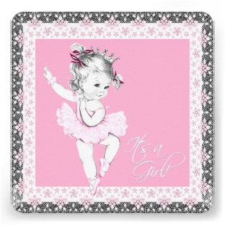 Ducha rosada y gris de la niña de la bailarina invitación