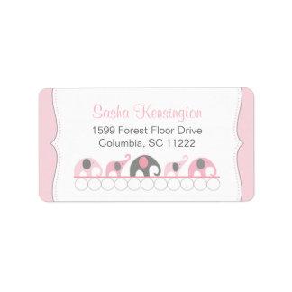 Ducha rosada y gris de la niña de los elefantes etiqueta de dirección