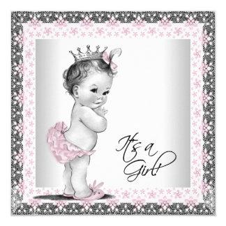 Ducha rosada y gris de la niña del vintage invitación personalizada