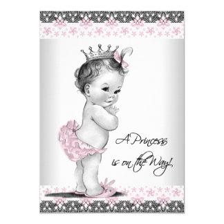 Ducha rosada y gris de la niña del vintage invitación 12,7 x 17,8 cm