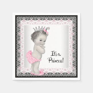 Ducha rosada y gris de la niña del vintage servilleta de papel