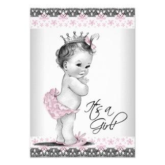 Ducha rosada y gris del vintage de la niña invitación