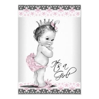 Ducha rosada y gris del vintage de la niña invitación 8,9 x 12,7 cm