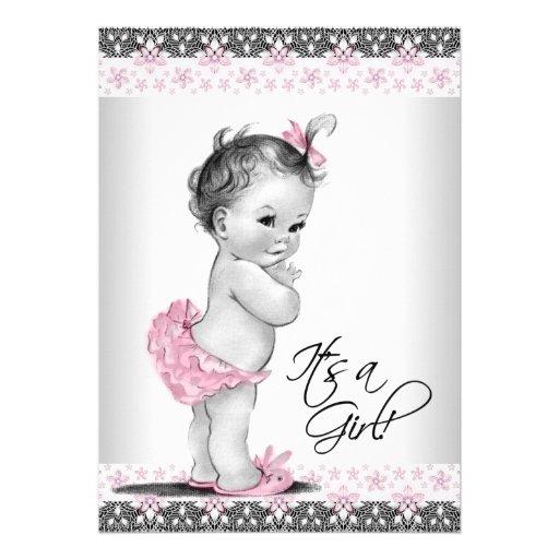 Ducha rosada y gris del vintage de la niña invitaciones personales