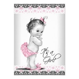 Ducha rosada y gris del vintage de la niña invitación 12,7 x 17,8 cm