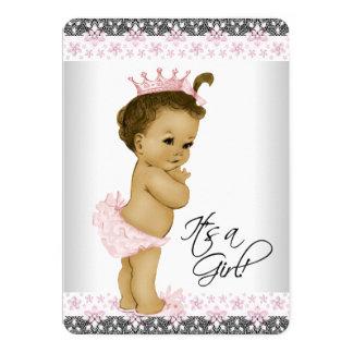 Ducha rosada y gris étnica de la niña invitación 12,7 x 17,8 cm