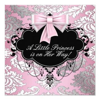"""Ducha rosada y negra de plata de la princesa niña invitación 5.25"""" x 5.25"""""""