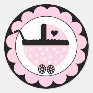 Ducha rosada y negra del Cochecito-Bebé del bebé Pegatina Redonda