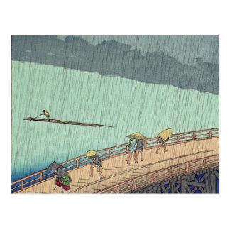 Ducha súbita de Ando Hiroshige Postal