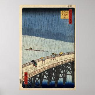 Ducha súbita de Hiroshige sobre el puente de Shin- Poster