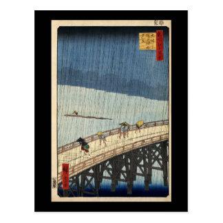 Ducha súbita de Hiroshige sobre el puente de Postal