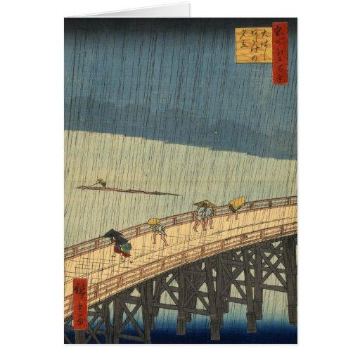 Ducha súbita sobre el puente de Shin-Ōhashi, Hiros Felicitación