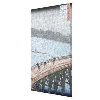 Ducha súbita sobre el puente de Shin-Ohashi y Impresiones De Lienzo