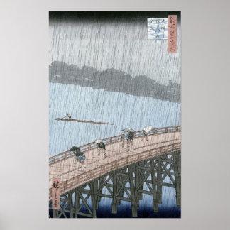 Ducha súbita sobre el puente de Shin-Ohashi y Poster