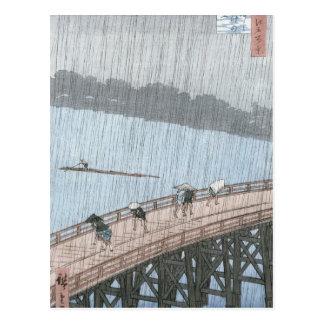 Ducha súbita sobre el puente de Shin-Ohashi y Postal