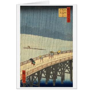 Ducha súbita sobre el puente y Atake de Shin-Ōhash Tarjetón