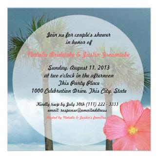 Ducha tropical del boda de playa invitacion personalizada