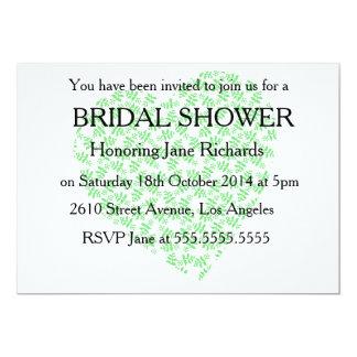 """Ducha verde bonita del boda invitación 5"""" x 7"""""""