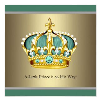 """Ducha verde del bebé del Príncipe heredero del oro Invitación 5.25"""" X 5.25"""""""