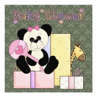 Ducha verde rosada de la niña del oso de peluche invitación 13,3 cm x 13,3cm