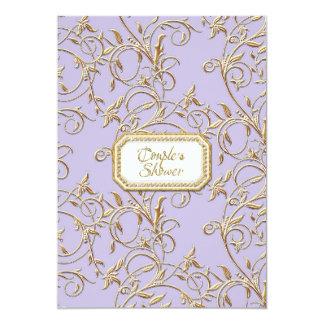 Ducha vieja atractiva de los pares de la lila de invitación 12,7 x 17,8 cm