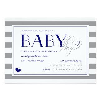"""Ducha y azules marinos grises del bebé de la raya invitación 5"""" x 7"""""""
