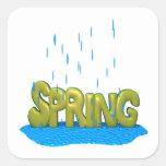 Duchas 2 de la primavera colcomanias cuadradas personalizadas