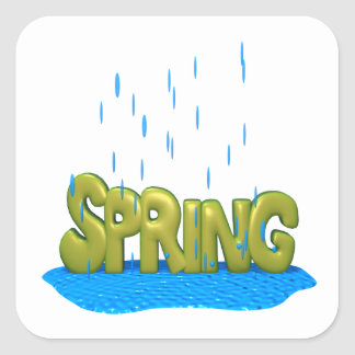 Duchas 2 de la primavera pegatina cuadrada