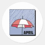 Duchas de abril etiqueta redonda