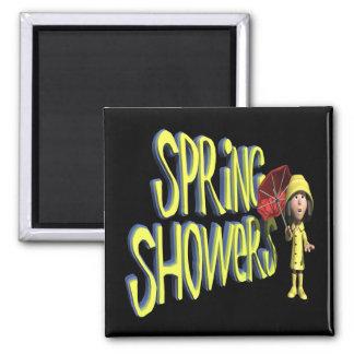Duchas de la primavera imán cuadrado
