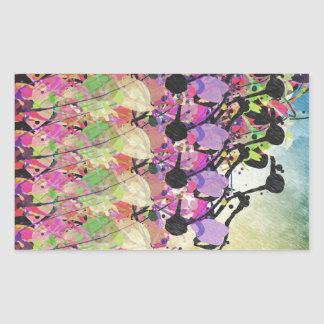 Duchas de Sun en las flores Pegatina Rectangular