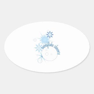 Duchas del copo de nieve calcomanías ovales
