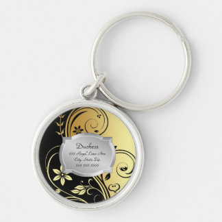Duchess Gold Floral Scroll Silver Plaque Pet Tag Keychain