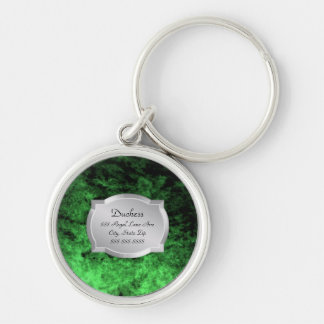 Duchess Green Leather Silver Plaque Pet Tag Keychain