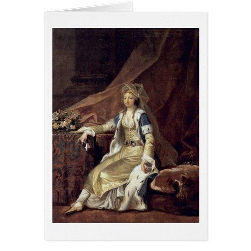 Duchess Louisa In Turkish Costume By Jens Juel Greeting Card