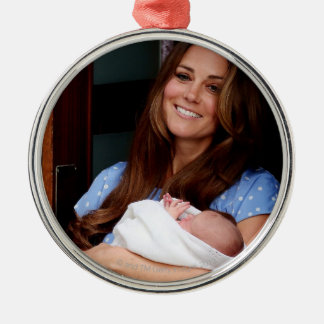 Duchess Of Cambridge Holding Newborn Son 2 Metal Ornament