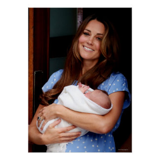 Duchess Of Cambridge Holding Newborn Son 2 Poster