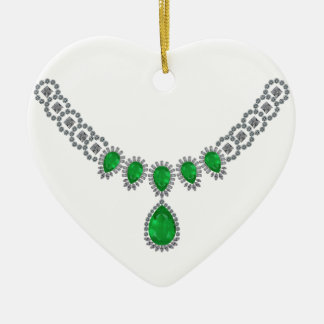 Duchess of Windsor's Emeralds Double-Sided Heart Ceramic Christmas Ornament