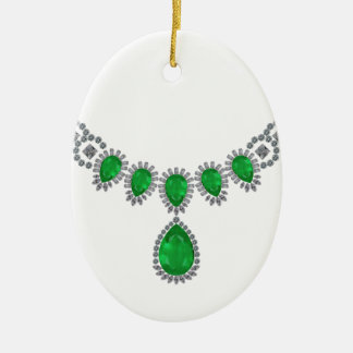 Duchess of Windsor's Emeralds Double-Sided Oval Ceramic Christmas Ornament