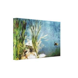 Duck and cattails painting canvas print
