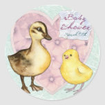 Duck and Chick Baby Shower Classic Round Sticker