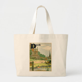 Duck and Ducklings Swimming on the River Large Tote Bag